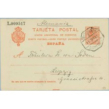 1911. Medallón 10 c. rojo. Córdoba a Leizpzig. Mat. Cadiz Certif. (Laiz 53) 180€