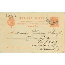 1913. Medallón.10 c. rojo. Barcelona a Leipzig. Mat. Barna. (Laiz 53) 6€