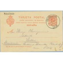 1911. Medallón.10 c. rojo. S.Sebastián a Alemania. Mat. S.S (Laiz 53) 6€