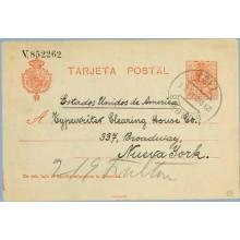 1914. Medallón.10 c. rojo s.azulado. Burgos a N.Y. Mat. Burgos (Laiz 53) 36€