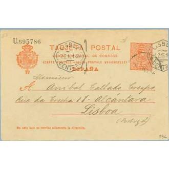 1915. Medallón.10 c. rojo. Barna. a Lisboa. Mat. Barna. llegada (Laiz 53C) 110€