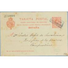 1910. Medallón. 10 c. rojo sobre crema. Casademunt, Gerona a Camprodón, Gerona. Matasellos CORREOS BRULL (Laiz 53E) 24€