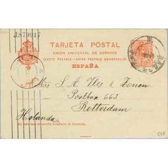1910. Medallón.10 c. rojo. Barna a Rotterdam. Mat. Barna. llegada (Laiz 53E) 24€