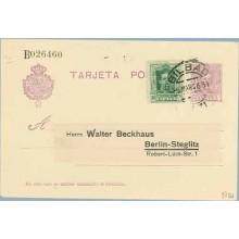 1926. Vaquer.15 c. lila. + 10 c. verde (Ed. 314). Bilbao a Berlin. Mat. Bilbao (Laiz 57Fd) 50€