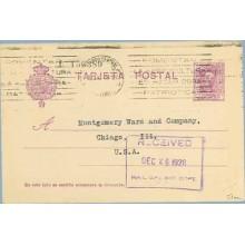 1928. Vaquer.15 c. lila. Numeración tipo III. Madrid a Chicago. Mat. Correo Central Madrid (Laiz 57na) 36€