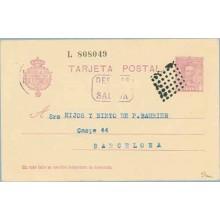1931. Vaquer.15 c. lila. Numeración tipo III. Zaragoza a Barcelona. Mat. Rombo de puntos, marca Despues de la Salida (Laiz 57na)