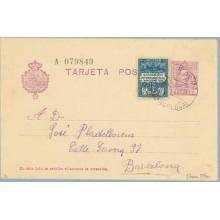 Vaquer. 15 c. lila, numeración tipo III + 5 c. azul y azul claro, serie 1ª (Barcelona Ed. 1). Premia de Mar. a Barcelona. Mat. P