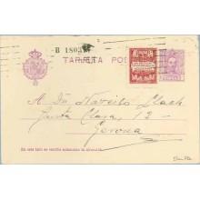 1929. Vaquer.15 c. + 5 c. carmín y rosa, serie 2ª (Barcelona Ed. 2) Dirigida a Gerona. Mat. Rodillo mecánico (Laiz 57naFBb) 50€