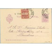 1930. Vaquer. 15 c. lila, numeración tipo III + 5 c. carmín y rosa, serie 2ª (Barcelona Ed. 2). Mataró. a Barcelona. Mat. Mataró
