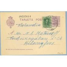 1927. Vaquer. 15 c. lila, numeración tipo II + 10 c. verde. (Ed. 314). Caldas de Reyes a Helsingfors, Finlandia. Mat. Caldas de