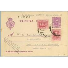 1930. Vaquer. 15 c. lila, numeración tipo III. 5 c. + 5 c. lila. (Ed. 311). Madrid a Bad Soden, Alemania. Mat. Madrid (Laiz 57na