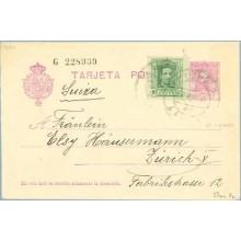 1931. Vaquer.15 c. lila.numeración tipo III + 10 c. verde. Vaquer (Ed. 314) El Tiemblo, Avila a Zurich. Mat. El Tiemblo (Laiz 57