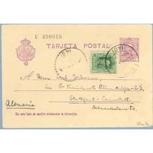 1929. Vaquer.15 c. lila.numeración tipo III + 10 c. verde. Vaquer (Ed. 314) Sevilla a Stuttgart. Mat. Sevilla (Laiz 57naFe) 35€