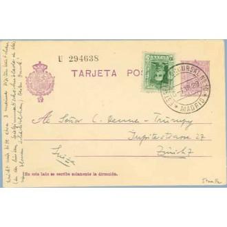 1929. Vaquer.15 c. lila.numeración tipo III + 10 c. verde. Vaquer (Ed. 314) Madrid a Zurich. Mat. Madrid (Laiz 57naFe) 35€
