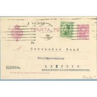 1931. Vaquer.15 c. + 10 c. verde claro. Alfonso XIII de perfil. (Ed. 492) Madrid a Leipizg. Mat. Rodillo mecánico Madrid (Laiz 5