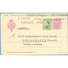 1930. Vaquer. 15 c. lila, numeración tipo III + 10 c. verde. Alfonso XIII de perfil (Ed. 492). Valencia a Regensburg. Mat. Valen