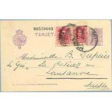 1927. Vaquer. 15 c. lila, numeración tipo II + 5c. + 5 c. lila. Vaquer (Ed. 311) Barcelona a Lausanne. Mat. Barcelona (Laiz 57nF