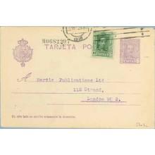 1928. Vaquer.15 c. lila.numeración tipo II + 10 c. verde. Vaquer (Ed. 314) Madrid a Londres. Mat. Madrid (Laiz 57nFc) 35€