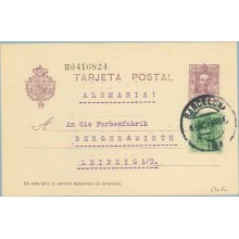 1926. Vaquer.15 c. lila, numeración tipo II + 10 c. verde. Vaquer (Ed. 314) Barcelona a Leipzig. Mat. Barcelona (Laiz 57nFc) 35€