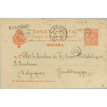 1913. Medallón.10 c. rojo s. azulado. Coruña a Gendbrugge Belgica. Mat. Coruña y llegada, marca 146 (Laiz 53) 24€