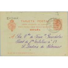 1919. Medallón.10 c. rojo s. azulado. Arenys de Mar a S. Andrés de Palomar. Mat. Arenys de Mar (Laiz 53) 3€