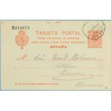 1911. Medallón.10 c. rojo. Málaga a Barmen. Mat. Amb. (Laiz 53) 20€