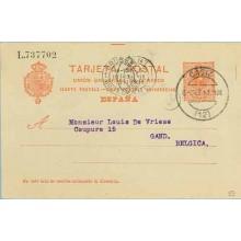 1911. Medallón.10 c. rojo. Cadíz a Gand. Mat. Cadiz, marca 22 (Laiz 53) 6€