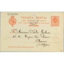 1911. Medallón.10 c. rojo. Valencia a Anvers, llegada (Laiz 53) 6€