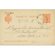 1914. Medallón.10 c. rojo sobre azulado. Cevico de laTorre, Palencia a N. York. Mat. Cevico de la Torre (Laiz 53) 36€