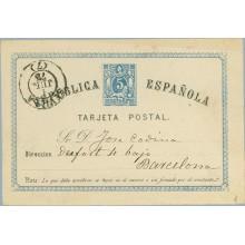 1874. 5 c. azul. Sevilla a Barcelona. Fechador Sevilla 1874 (Laiz 1) 50€