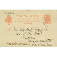 1911. Medallón.10 c. rojo. Sevilla a Masschausetts. Mat. Amb. (Laiz 53) 36€