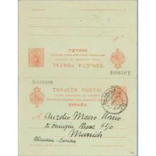 1922. Medallón. 10 c. + 10 c. rojo sobre azulado intenso. Salamanca a Munich. Mat. Salamanca (Laiz 54A) 130€