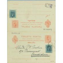 1926. Medallón. 10 c. + 10 c. rojo sobre azulado + 15 c. verde. Vaquer (Ed. 315). Madrid a Amsterdam. Mat. Madrid (Laiz 54AFb) 1