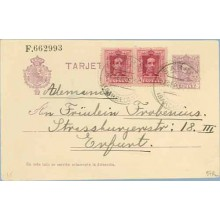 1926. Vaquer.15 c. + 5 c. + 5 c. rojo. Vaquer (Ed.311) Barcelona a Enfunt, Alemania. Mat. Barcelona (Laiz 57Fc) 60€