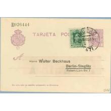 1926. Vaquer. 15 c. lila, numeración tipo I + 10 c. verde. Vaquer (Ed. 311) Bilbao a Berlin. Mat. Bilbao I (Laiz 57Fd) 50€