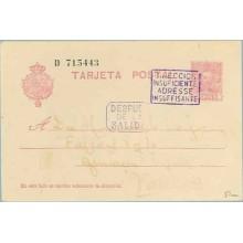1930. Vaquer.15 c. lila. Numeración tipo III. Dirigida a Valencia. Marcas Direción insuficiente, Adresse Insuffisante y Despues
