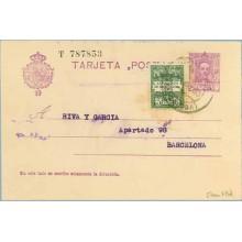 1930. Vaquer. 15 c. + 5 c. verde y verde claro, serie 4ª (Barcelona Ed. 4) Tarrasa a Barcelona. Mat. Barcelona (Laiz 57naFBd) 42