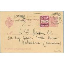 1930. Vaquer. 15 c. lila, numeración tipo III + 5 c. violeta y rosa, serie 5ª (Barcelona Ed. 5) Barcelona a Vallirana. Mat. Barc