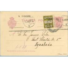 1930. Vaquer. 15 c. lila, numeración tipo III + 5 c. negro y verde, serie 6ª (Barcelona Ed. 6). Barcelona a Igualada. Mat. Barce