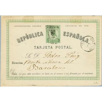 1874. 5 c. verde. Ida. Mat. Rombo de puntos, fechador Valencia (Laiz 2Ai) 98€