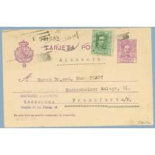 1929. Vaquer.15 c. + 10 c. verde. Vaquer (Ed.314) Barcelona a Frankfurt (Laiz 57naFe) 35€