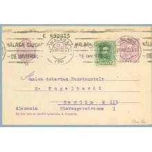 1930. Vaquer.15 c. lila.numeración tipo III + 10 c. verde Vaquer (Ed. 314) Málaga a Berlin. Mat. Málaga (Laiz 57naFe) 35€