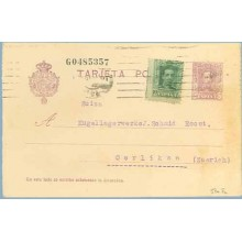 1926. Vaquer. 15 c. lila, numeración tipo II + 10 c. verde. Vaquer (Ed. 314). Barcelona a Oerliken, Suiza. Mat. Barcelona (Laiz