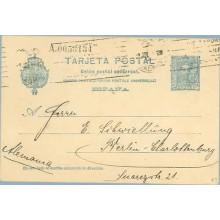 1925. Vaquer. 25 c. azul, cartulina crema lisa. Siete cifras (Laiz 59C) 44€